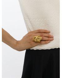 Alexander McQueen Metallic Floral Skull Cocktail Ring