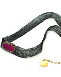 Soru Jewellery - Pink Magenta Agate Choker/wrap Bracelet - Lyst