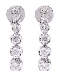 Kojis | White Gold Diamond Drop Earrings | Lyst