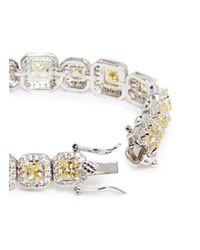 CZ by Kenneth Jay Lane - Yellow Princess Cut Cubic Zirconia Pavé Bracelet - Lyst