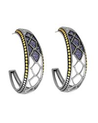 John Hardy - Metallic Naga Gold & Silver Lava Amethyst Hoop Earrings - Lyst