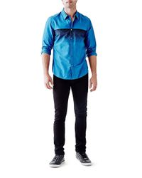 Guess | Blue Patterned Cotton Sportshirt for Men | Lyst