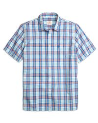 Brooks Brothers - Blue Aqua Plaid Short-sleeve Sport Shirt for Men - Lyst