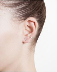 Yvonne Léon | Metallic 18K White Gold And Diamond Epingle Earring | Lyst