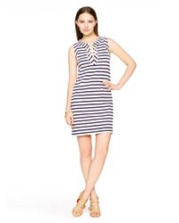 kate spade new york - Blue Cotton Jersey Lace-up Dress - Lyst