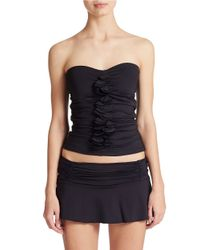 Kenneth Cole Reaction - Black Ruffle Front Bandeaukini Top - Lyst