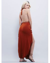 Free People - Orange Drapes The Shape Dress - Lyst