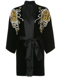 Josie Natori - Black Embroidered Belted Night-gown - Lyst