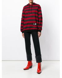 McQ Alexander McQueen Red Striped Swallows Hoodie