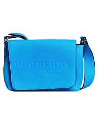 Burberry - Blue Small Logo Embossed Messenger Bag - Lyst
