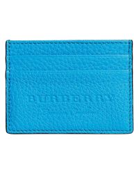 Burberry - Blue Logo Embossed Card Case - Lyst