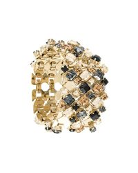 Lanvin | Metallic Thick Embossed Stone Cuff | Lyst