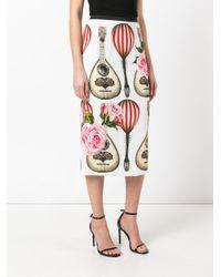 Dolce & Gabbana - White Mandolin And Rose Print Skirt - Lyst