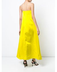 Adam Lippes - Yellow Long Flared Dress - Lyst