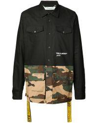 Off-White c/o Virgil Abloh - Black Panelled Shirt for Men - Lyst
