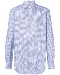 Kiton - Blue Plaid Button Shirt for Men - Lyst