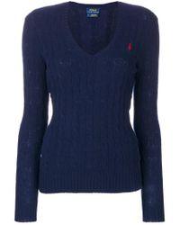 Polo Ralph Lauren - Blue Maglione Con Scollo A V - Lyst