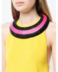 Monies - Black Colour Block Ring Necklace - Lyst