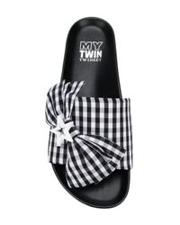 Twin Set - Black Checked Mules - Lyst