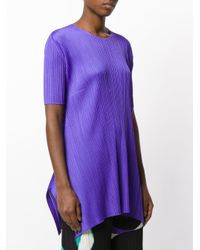 Pleats Please Issey Miyake - Purple Pleated Texture Elongated T-shirt - Lyst