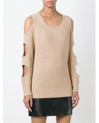 Zoe Jordan - Natural Cut-out Knitted Sweater - Lyst