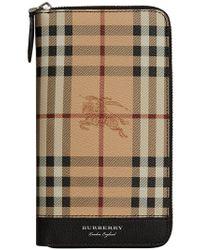 Burberry - Natural Haymarket Check Ziparound Wallet for Men - Lyst