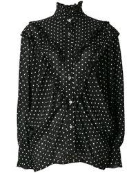 AlexaChung - Black Polka Dot Batwing Ruffle Blouse - Lyst