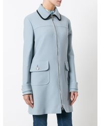 Prada - Blue - Flap Pockets Zipped Coat - Women - Viscose/wool - 44 - Lyst