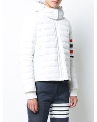 Thom Browne - White Downfill Ski Jacket With 4-bar Stripe & Removable Hood In Black Matte Nylon Poplin - Lyst