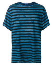 Yohji Yamamoto | Blue Striped T-shirt for Men | Lyst
