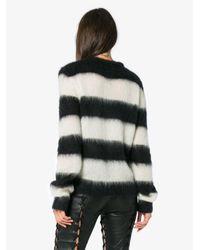 Saint Laurent Black Striped Mohair-blend Sweater