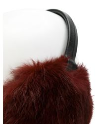 Yves Salomon - Red Fur-lined Ear Muffs - Lyst