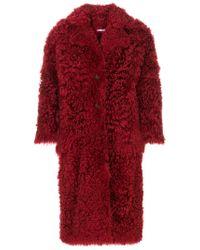 Desa Nineteenseventytwo - Red Oversized Shearling Coat - Lyst