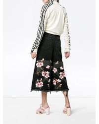 Off-White c/o Virgil Abloh - Black Lily Denim Culottes With Frayed Trims And Embroidery - Lyst