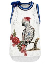 Martha Medeiros - White Embroidered Lace Tank - Lyst
