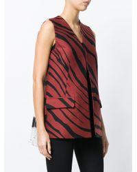 Roberto Cavalli Red Zebra Print Gilet