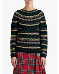 Burberry - Green Fair Isle Sweater - Lyst