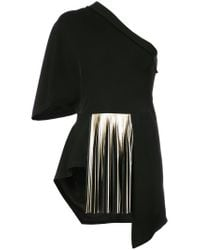 Yigal Azrouël - Black One Shoulder Pleated Blouse - Lyst