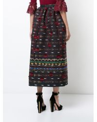 Oscar de la Renta - Blue Tassel Embroidered Skirt - Lyst