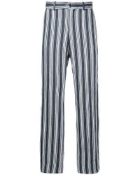 Cerruti 1881 - Blue Striped D-ring Belted Trousers for Men - Lyst