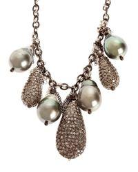 Samira 13 - Black Tahitan Pearl And Pave Diamond Encrusted Necklace - Lyst