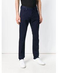 Emporio Armani - Blue Slim Fit Trousers for Men - Lyst