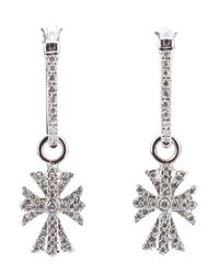 Elise Dray | White Diamond Cross Earrings | Lyst