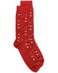 Etro - Red Floral Pattern Socks for Men - Lyst