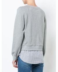 10 Crosby Derek Lam - Gray Crewneck Sweatshirt With Shirt Hem - Lyst