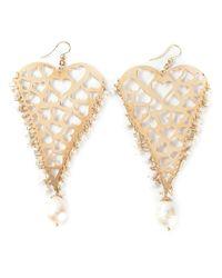 Natasha Zinko   Metallic 18kt Yellow Gold Heart Earrings   Lyst