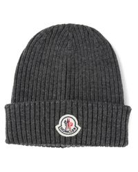 Moncler - Gray Ribbed Hat for Men - Lyst