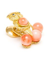 Yvonne Léon - Metallic Yvonne Léon 18k Yellow Gold And Coral Lobe Earring - Lyst