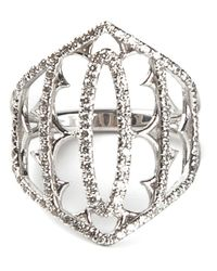 Loree Rodkin | Metallic White Gold And Grey Diamond Pavé Shield Ring | Lyst