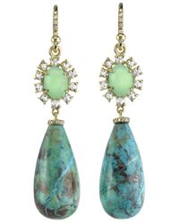 Irene Neuwirth | Metallic Turquoise And Diamond Drop Earrings | Lyst